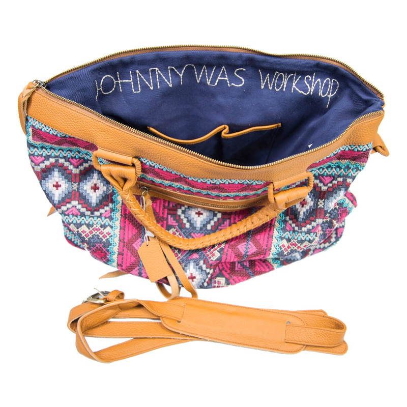 Johnny Was Kaya Overnight Tote in Denim Color