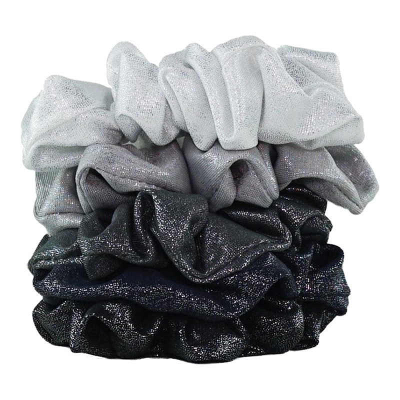 Kitsch Scrunchie Metallic Pack of 5 - Black/Sliver