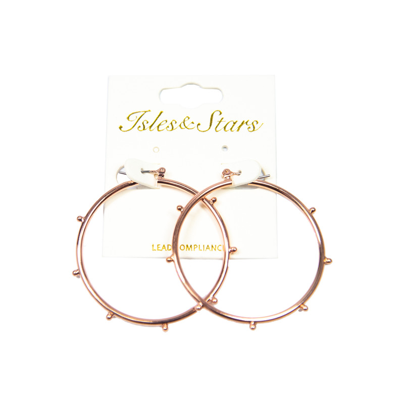 Kenze Panne Studded Hoops in Rose Gold Color