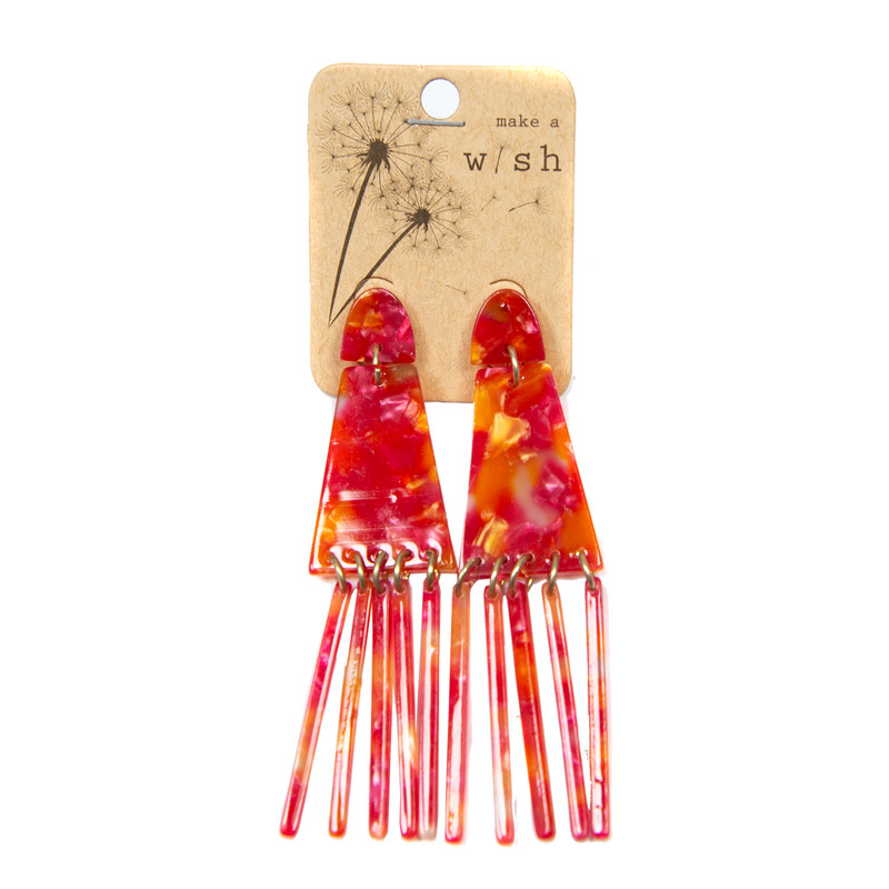 Kenze Panne Multi Acrylic Earring w/ Fringe in Pink Color