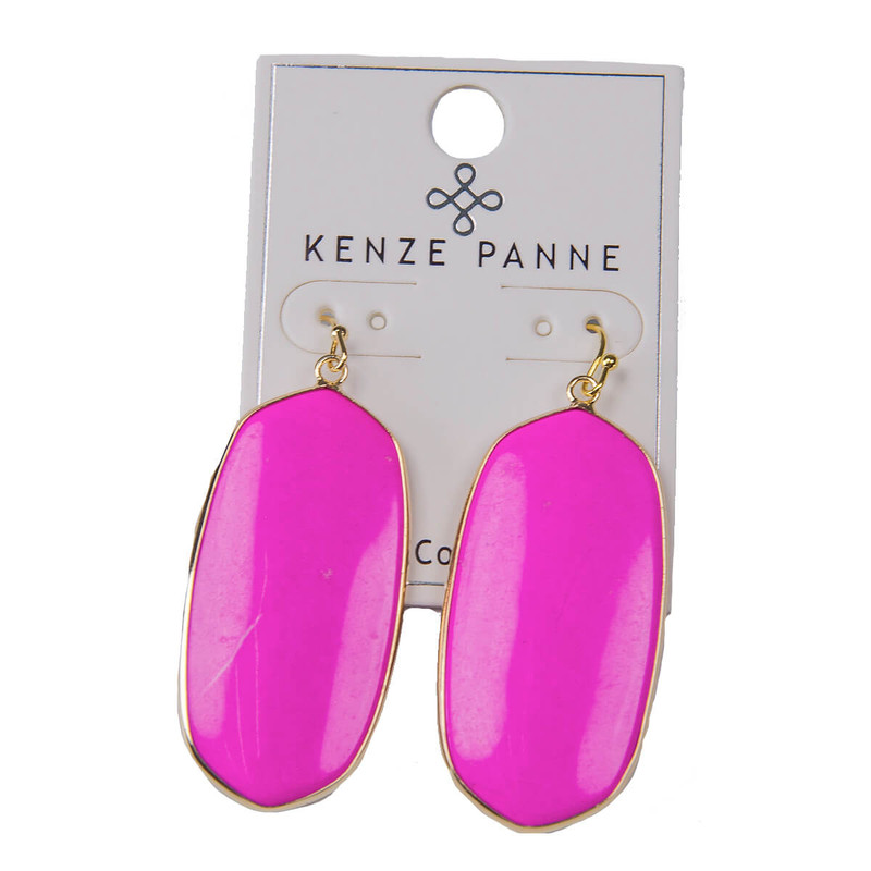 Kenze Panne Oval Earrings in Hot Pink