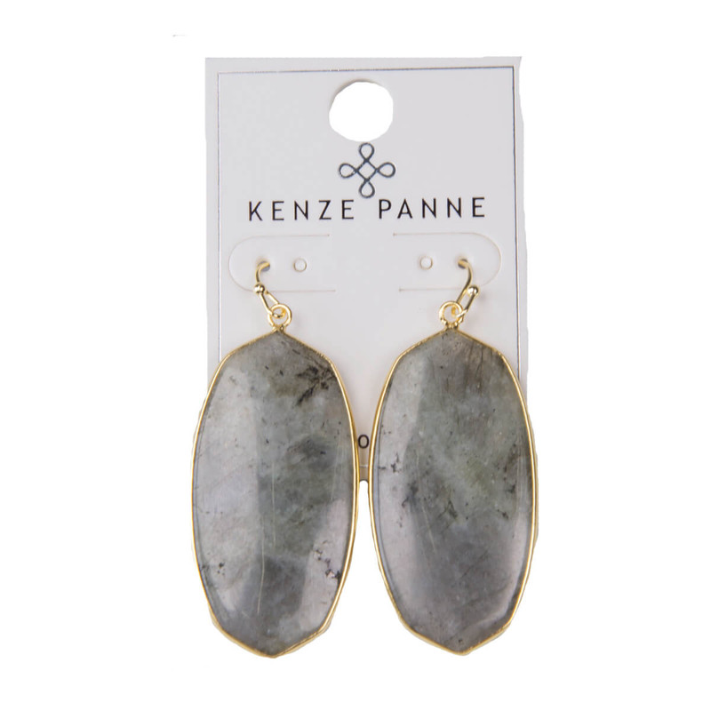 Kenze Panne Oval Earrings in Labradorite