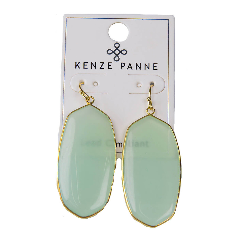 Kenze Panne Oval Earrings in Mint Color