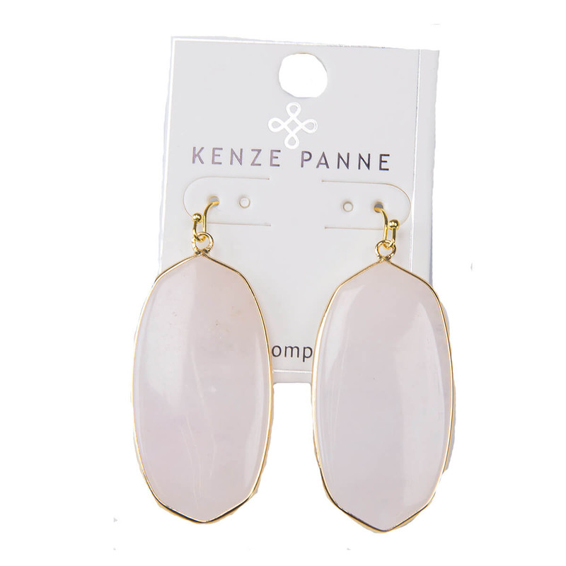 Kenze Panne Oval Earrings in Pink