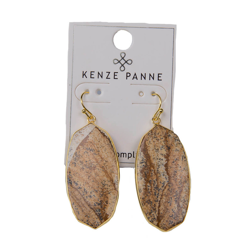 Kenze Panne Oval Earrings in Stone Color