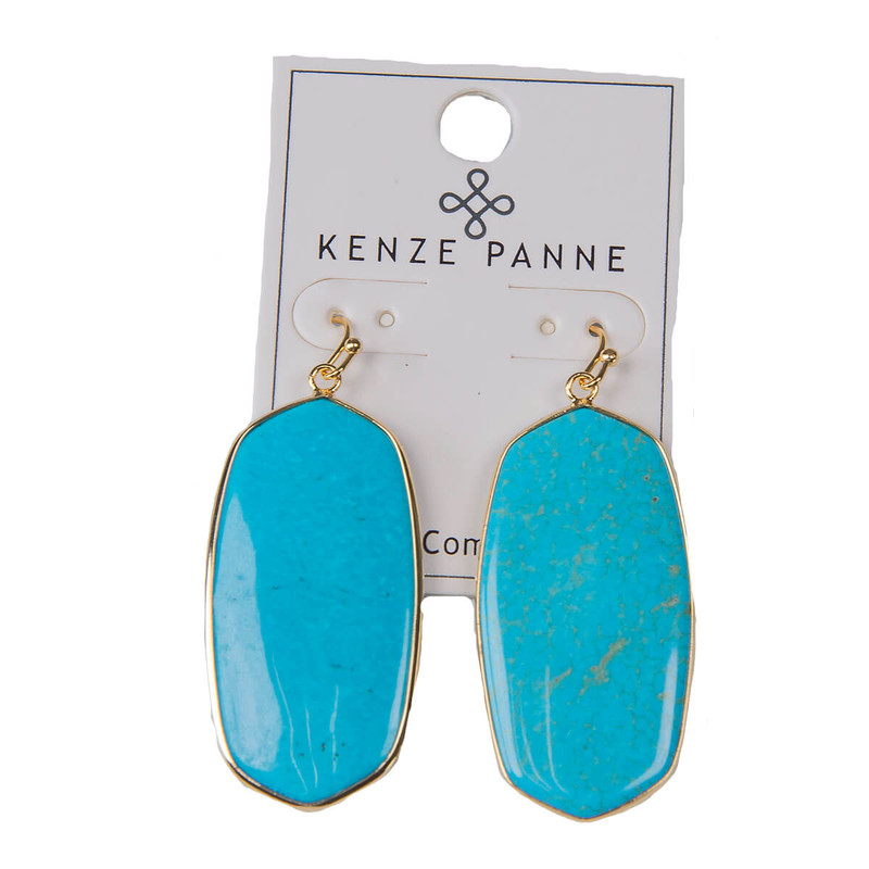 Kenze Panne Oval Earrings in Turqoise