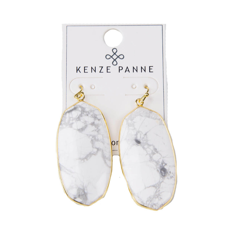 Kenze Panne Oval Earrings in White