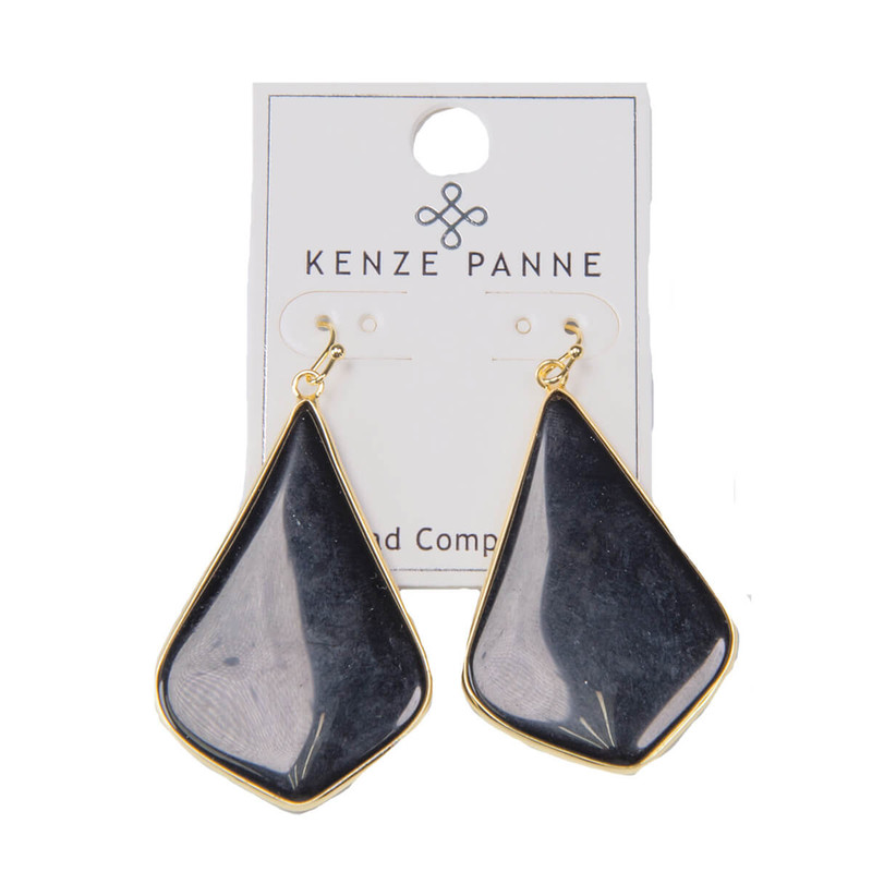 Kenze Panne Long Arrow Earrings in Black Color