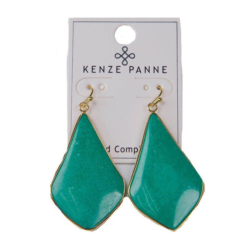 Kenze Panne Long Arrow Earrings in Jade Color