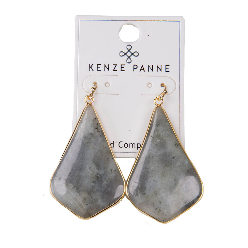 Kenze Panne Long Arrow Earrings in Labradorite Color