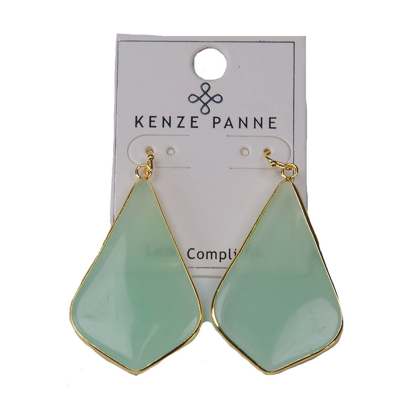 Kenze Panne Long Arrow Earrings in Mint Color