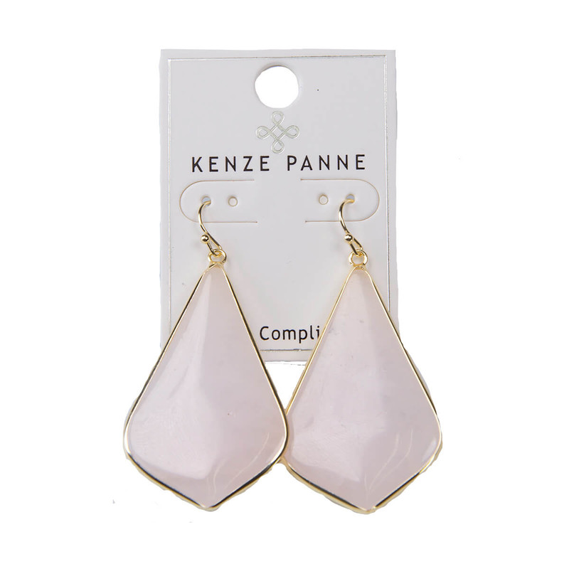 Kenze Panne Long Arrow Earrings in Pink
