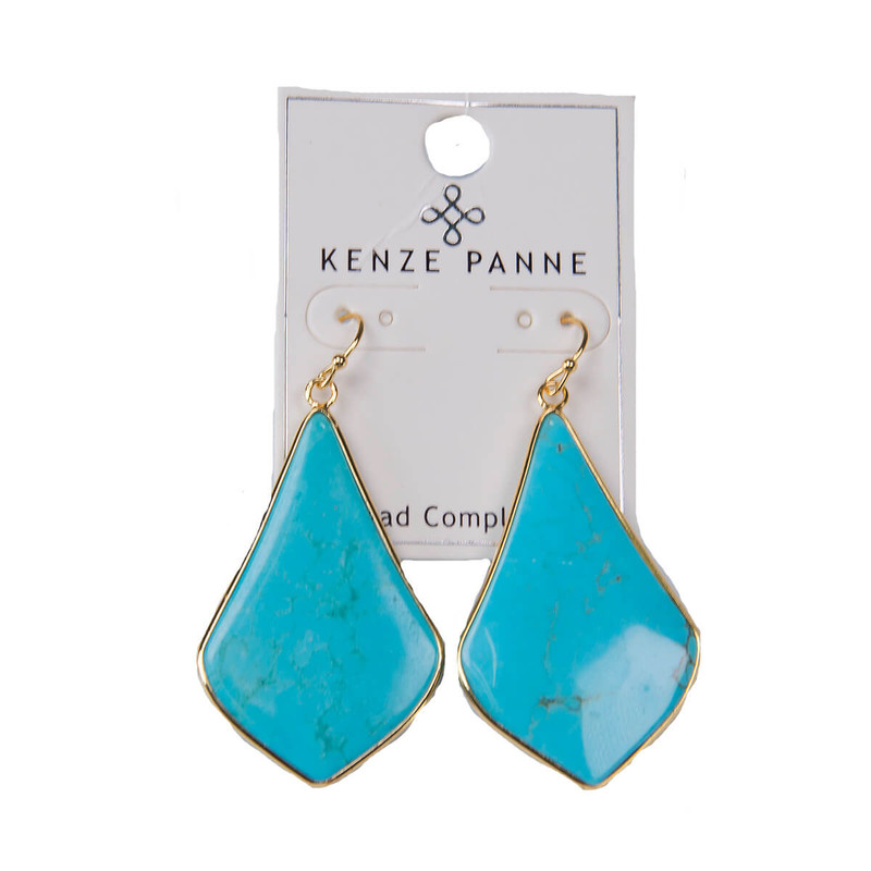 Kenze Panne Long Arrow Earrings in Turqouise