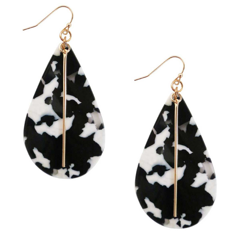 Kenze Panne Acrylic Tear Drop Earrings with Gold Bar in Black Color