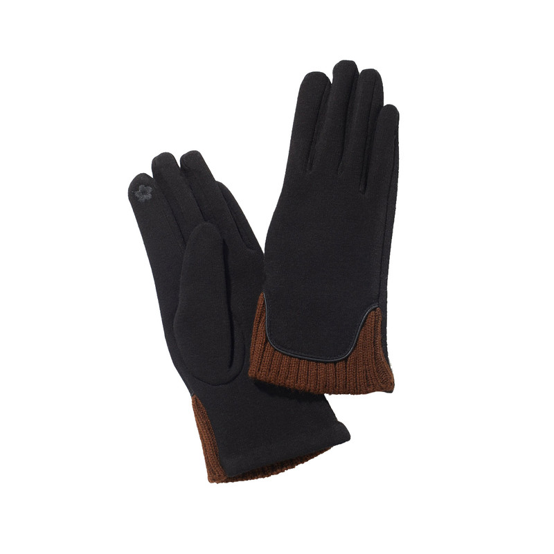 Look By M Knit Trim Gloves in Black Color