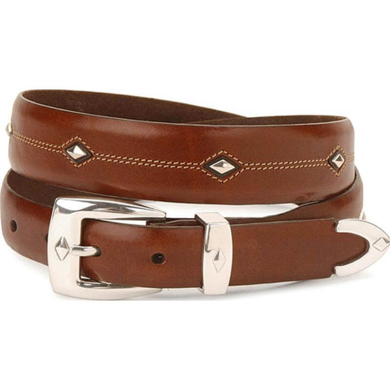"Leegin Denver Diamond Leather Belt 1 1/4"" Brown"