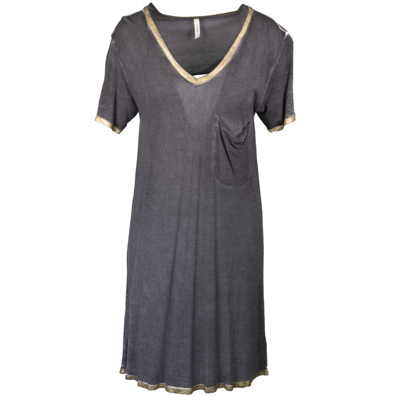Libby Story Let It Go Dress w/Gold Trim & Back Detail - Women's in Charcoal Color