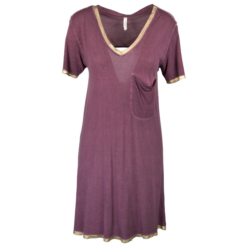 Libby Story Let It Go Dress w/Gold Trim & Back Detail - Women's in Wine Color