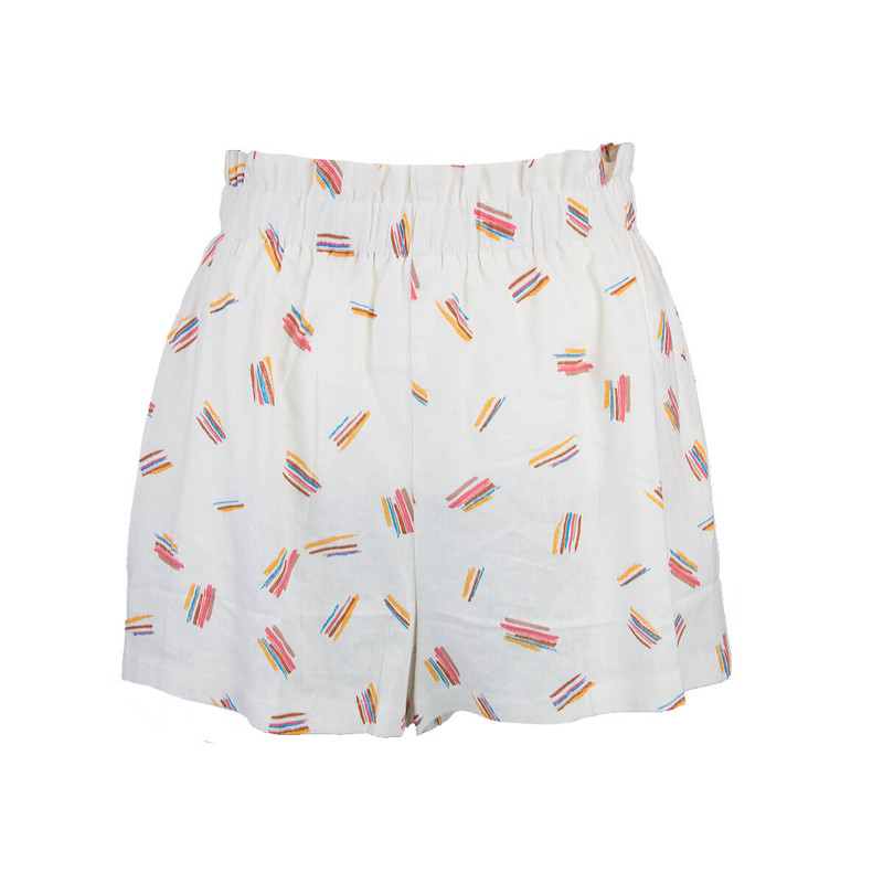 Linen Print Shorts in Ivory Color
