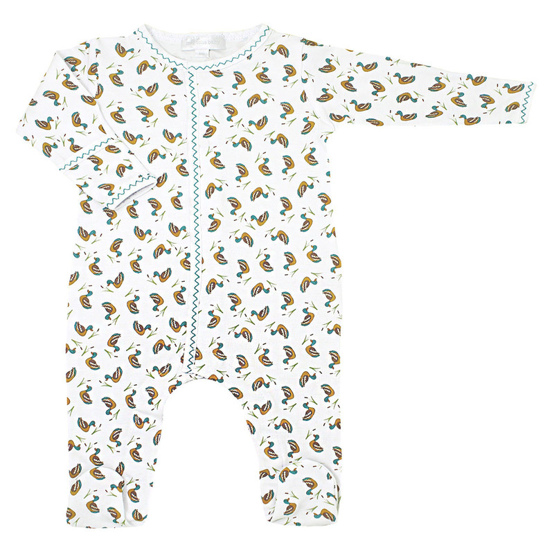 Magnolia Baby Duck Pond Printed Footie in White Color