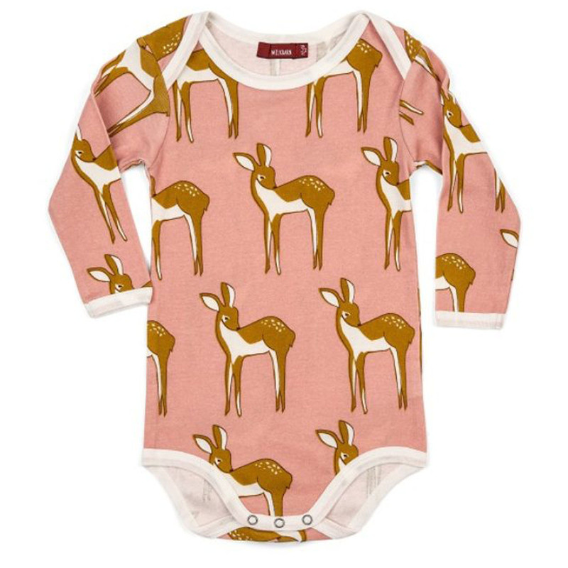 Milkbarn Long Sleeve One Piece Rose Doe in Pink Doe Color