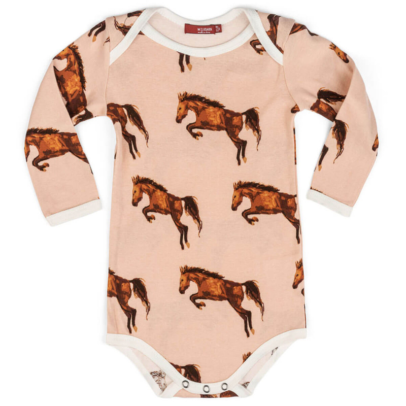 Milkbarn Horse Print Long Sleeve One Piece in Pink Color