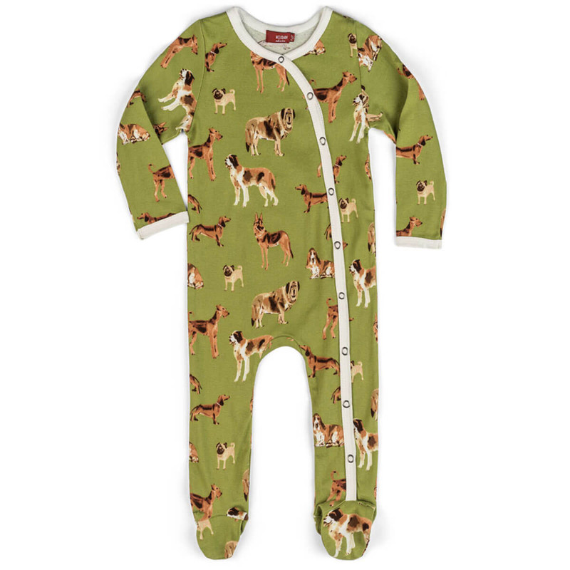 Milkbarn Dog Print Organic Footed Romper in Green Color