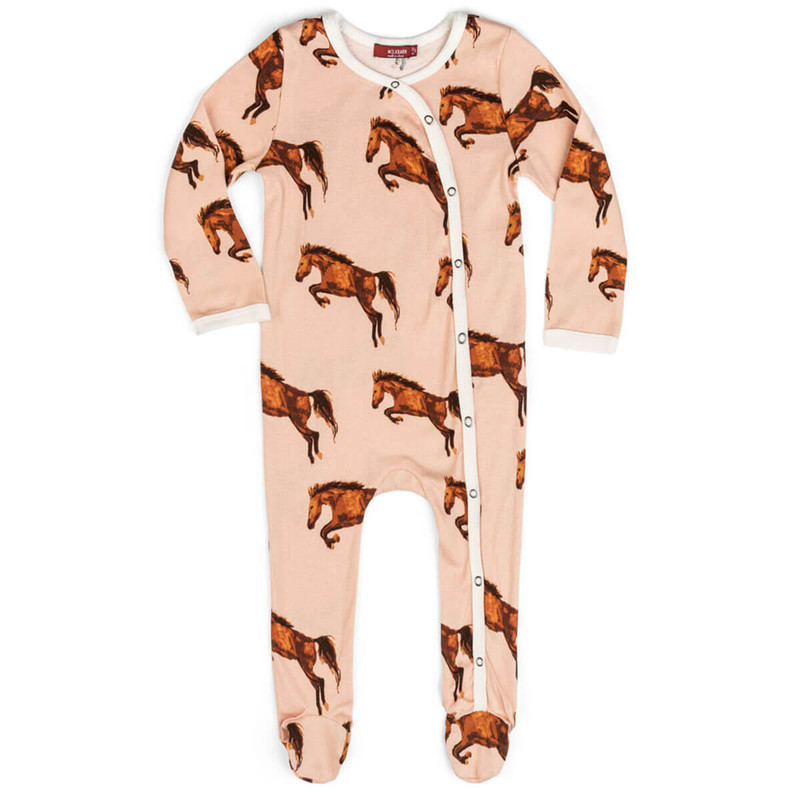 Milkbarn Horse Print Organic Footed Romper in Pink Color