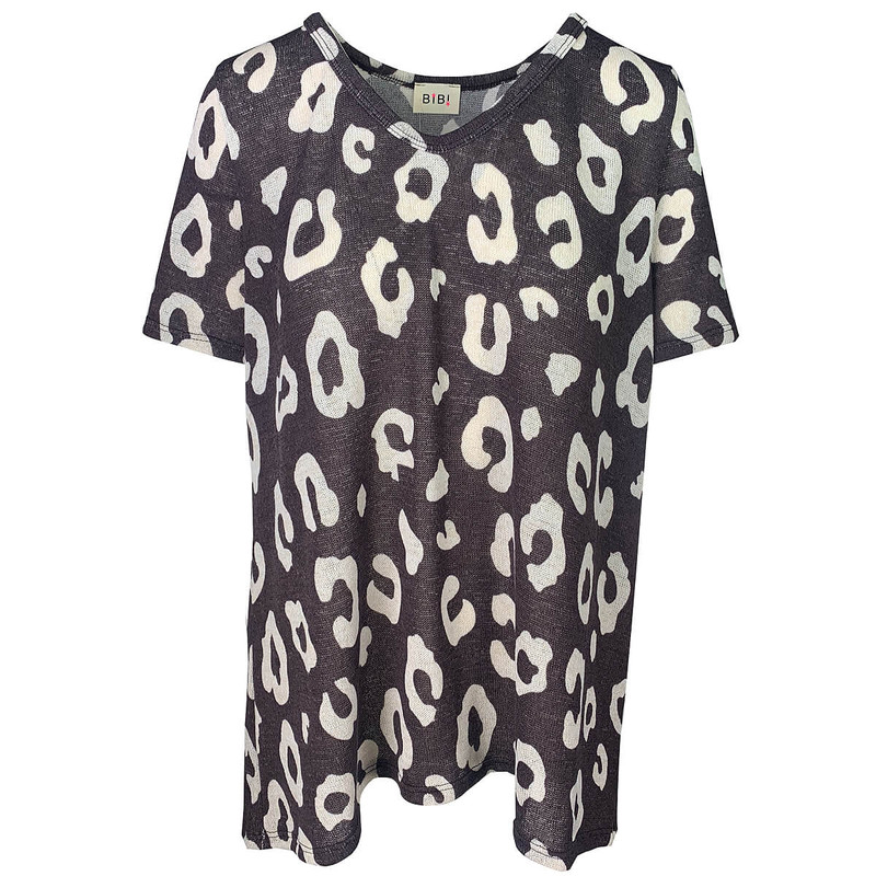 Macaron Leopard Print Hacci Deep U-Neck Top in Charcoal Color