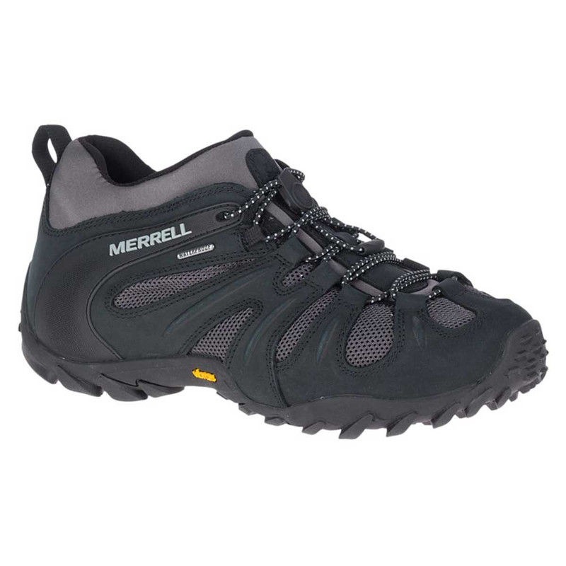 Merrell Chameleon 8 Stretch Waterproof Hiking Shoes in Black Gray Color