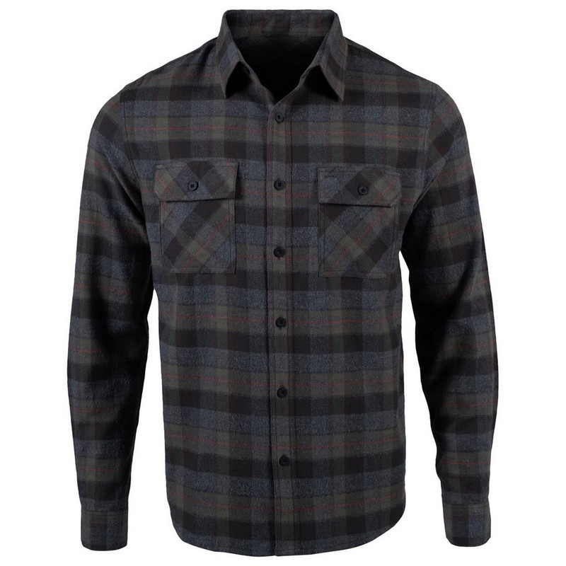 Mountain Khkai Men's Classic Fit Park Flannel Shirt in Grey Color