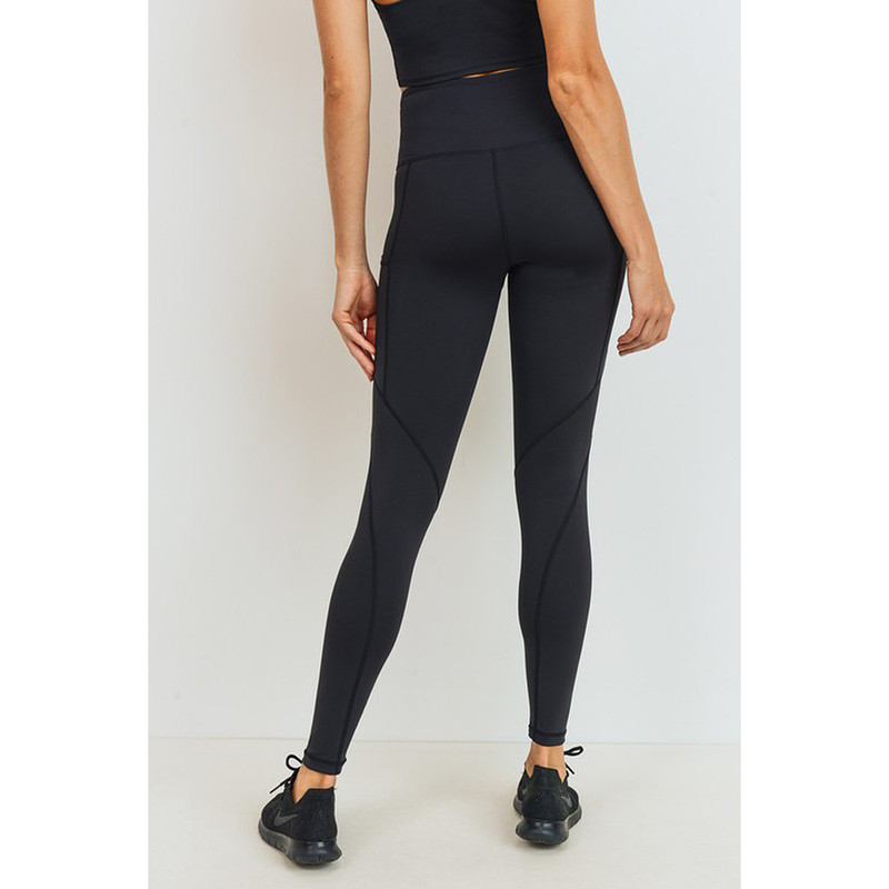 Mono B Solid & Slanted Panels Highwaisted Leggings in Black Color