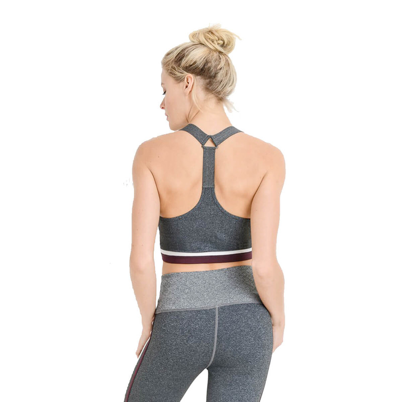 Mono B Colorblock Racerback Sports Bra in Grey Color
