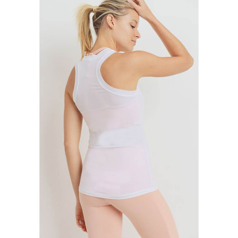 Mono B Essential Active Racerback Tank Top in White Color