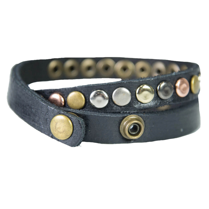 Most Wanted Studded Leather Bracelet in Black Color