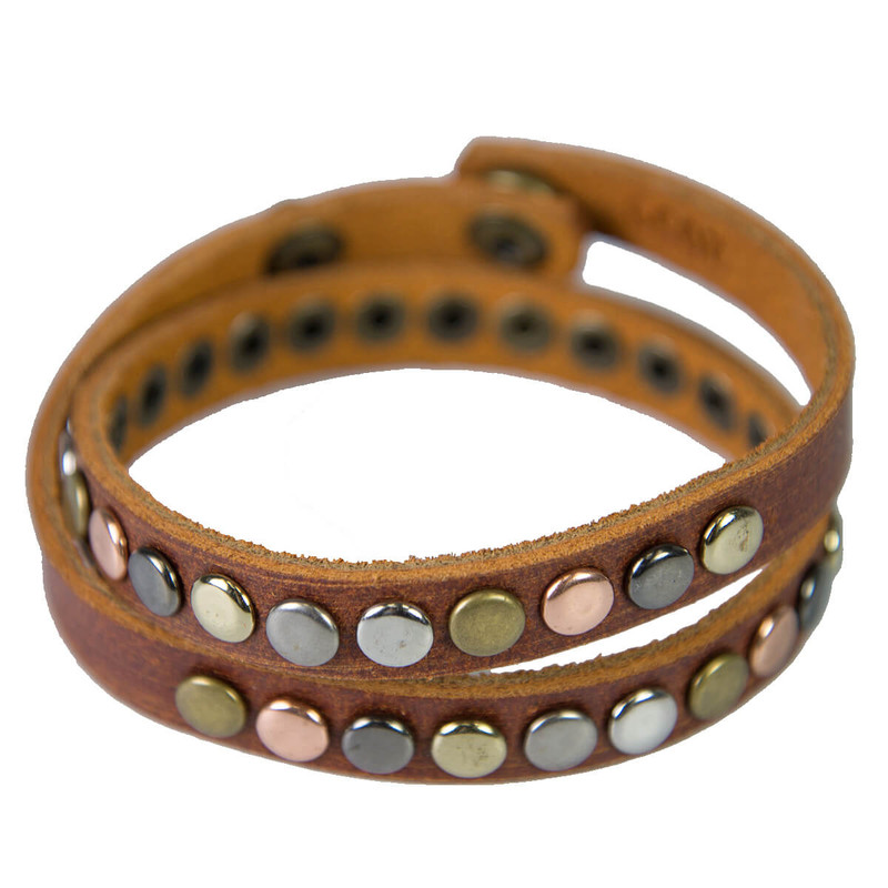 Most Wanted Studded Leather Bracelet in Tan Color