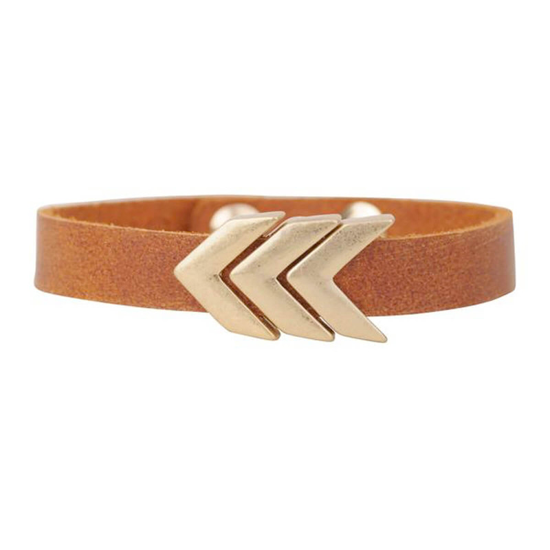 Most Wanted Golden Chevron Bracelet in Tan Color