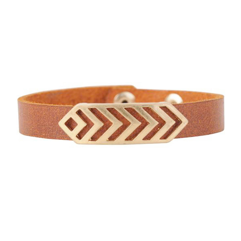 Most Wanted Chevron Band Bracelet in Tan