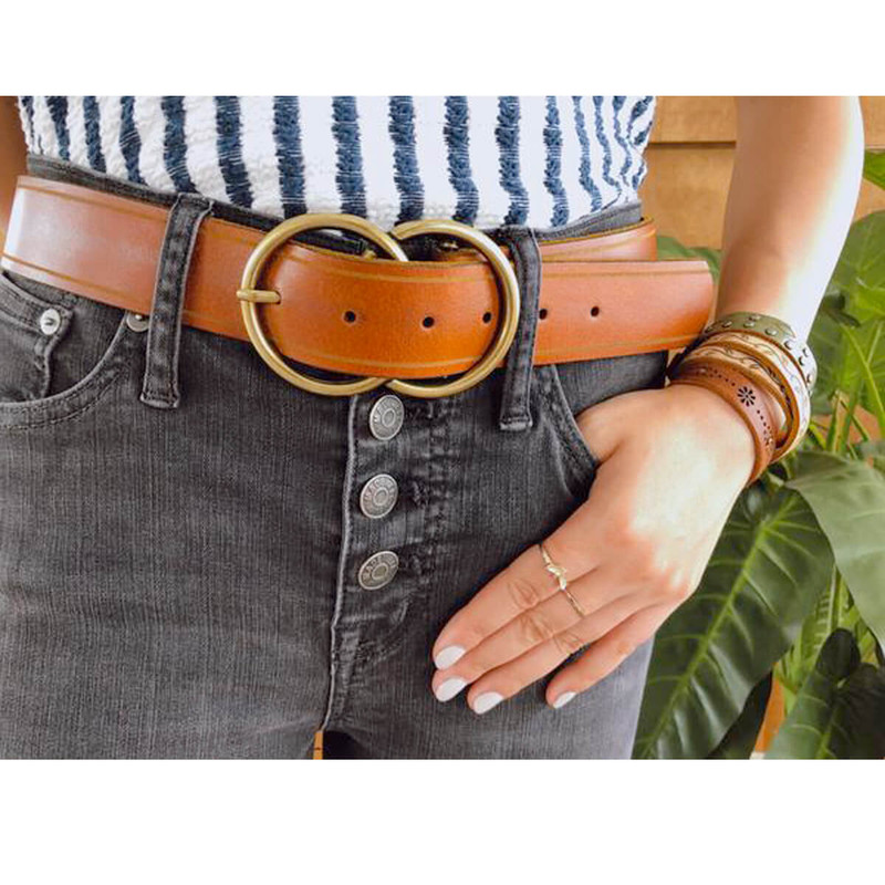 Most Wanted Double Circle Belt in Tan Color