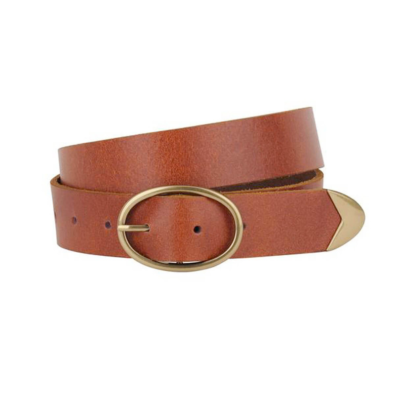 Most Wanted Oval Buckle Belt in Tan Color