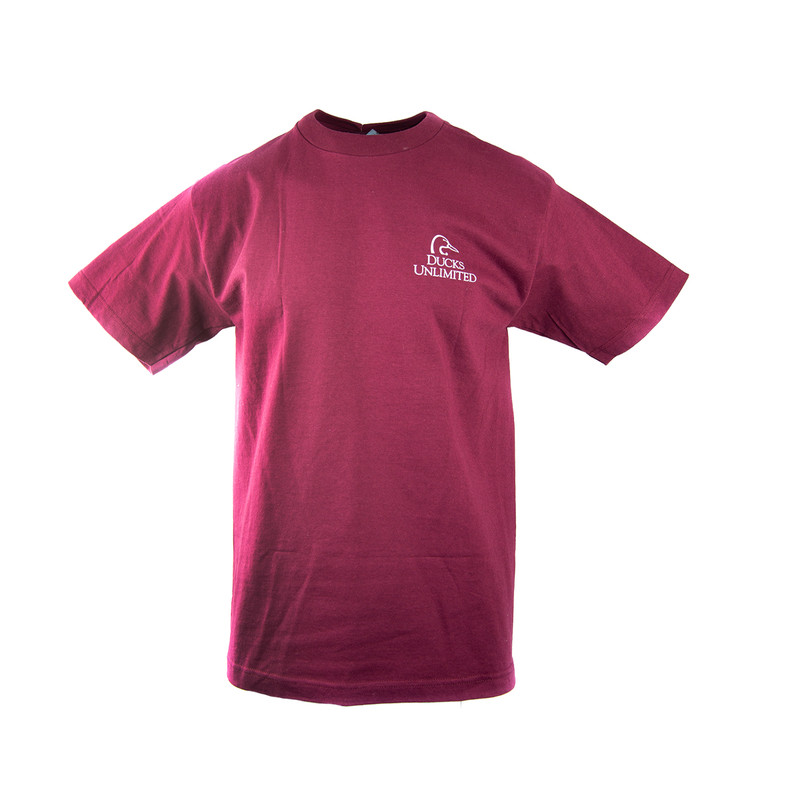 Duck's Unlimited Cornfield Flight Short Sleeve Tee in Burgundy Color