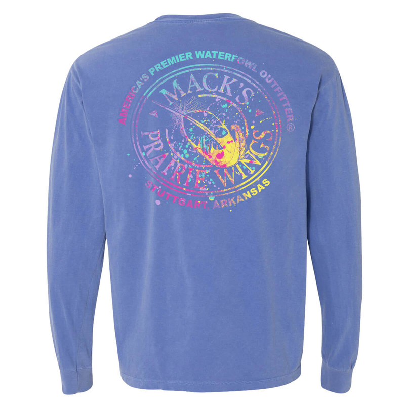 MPW Ladies Long Sleeve Multicolor Splatter T-Shirt in Flo Blue Color
