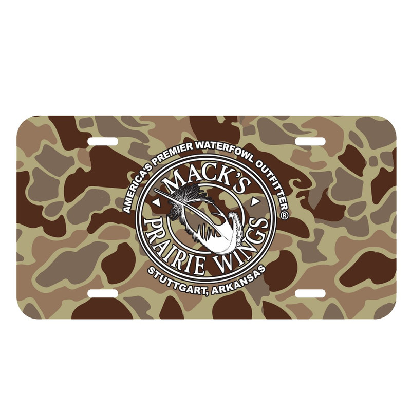 MPW Aluminum Embossed Old School License Plate in Camo Color