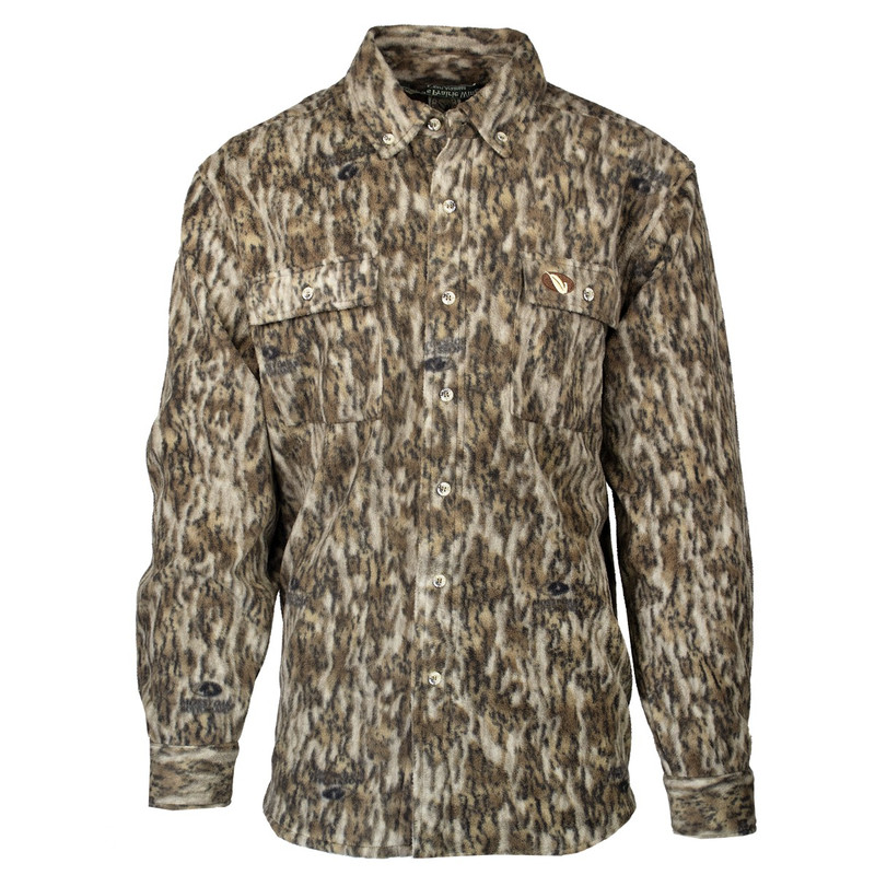 MPW Early Bird 7-Button Fleece Shirt in Mossy Oak Bottomland Color