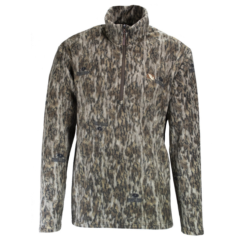 MPW Mens Early Bird Quarter Zip Fleece Pullover in Mossy Oak Bottomland Color
