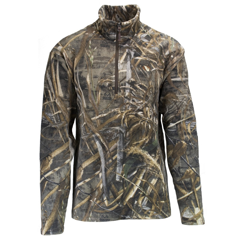 MPW Mens Early Bird Quarter Zip Fleece Pullover in Realtree Max 5 Color