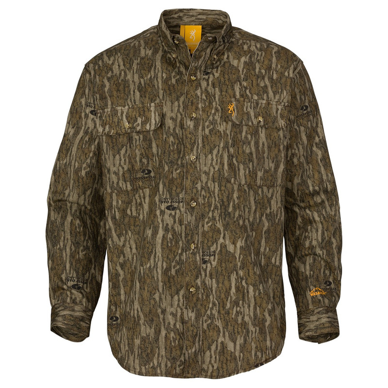 Browning Wasatch-CB Button Up Long Sleeve Hunting Shirt in Mossy Oak Bottomland Color