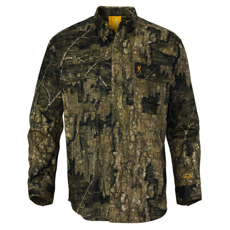 Browning Wasatch-CB Button Up Long Sleeve Hunting Shirt in Realtree Timber Color