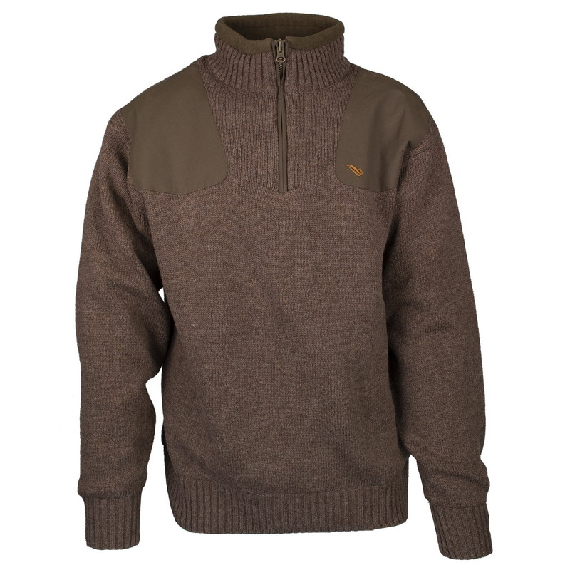 MPW Geridge Quarter Zip WindTamer Wool Sweater in Brown Color