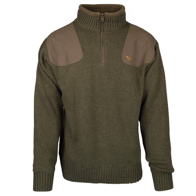 MPW Geridge Quarter Zip WindTamer Wool Sweater in Olive Color